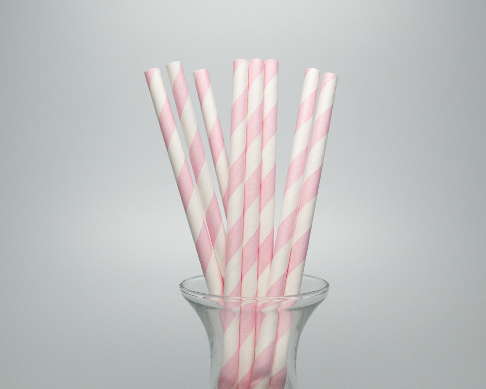 Blush Pink Striped Straws - Undercover Hostess