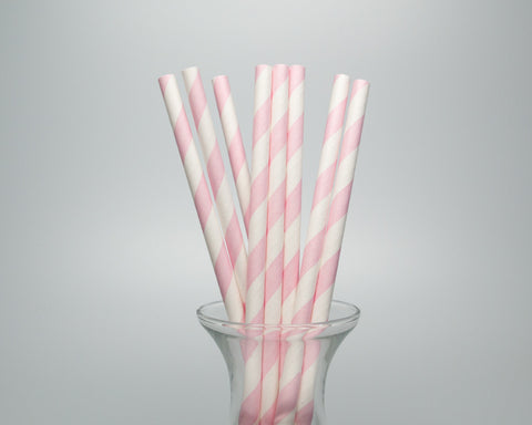Blush Pink Striped Straws
