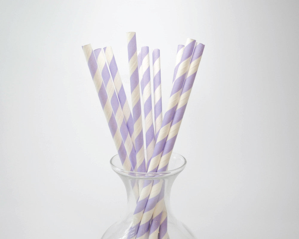 Light Purple Striped Straws - Undercover Hostess