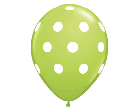 "Lime Green Polka Dot 11"" Balloons - Set of 6"