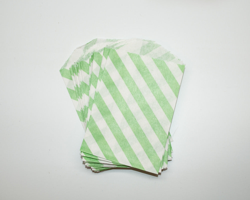 Small Lime Green Stripe Favor Bags - Undercover Hostess