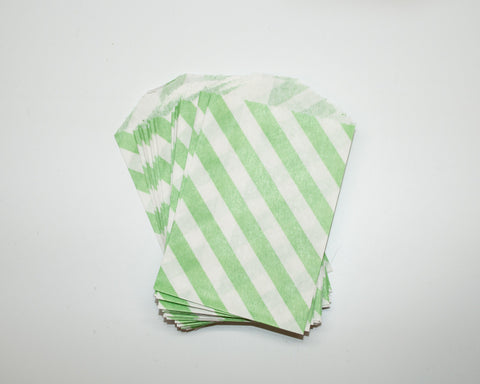 Small Lime Green Stripe Favor Bags