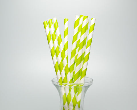 Lime Green Striped Straws