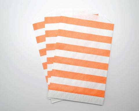 Medium Orange Horizontal Stripe Favor Bags