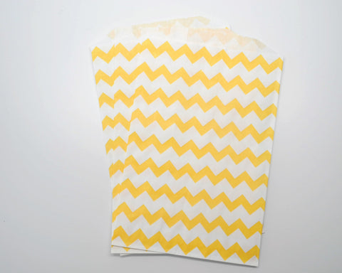 Medium Yellow Chevron Favor Bags
