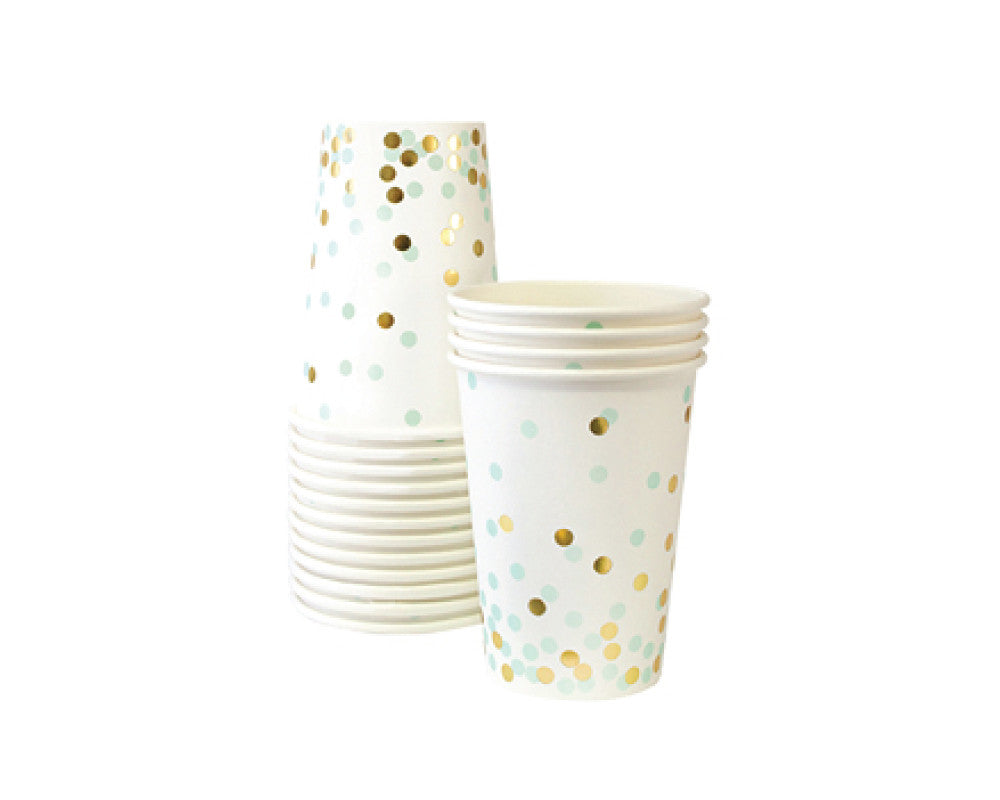 Mint Confetti Paper Cups - Undercover Hostess - 1