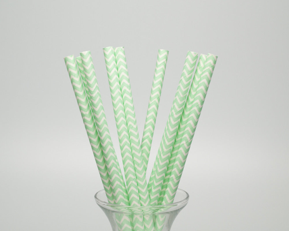 Mint Green Chevron Straws - Undercover Hostess