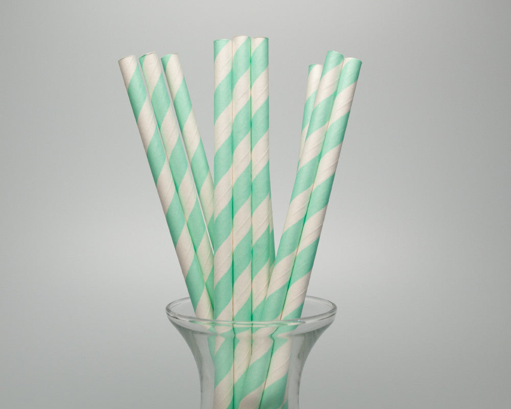 Mint Green Striped Straws - Undercover Hostess