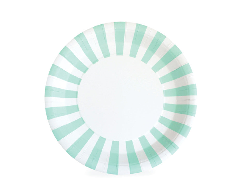 Mint Green Stripe Paper Plates - Undercover Hostess - 1