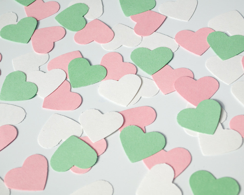 Pink, Mint and White Heart Confetti - Undercover Hostess