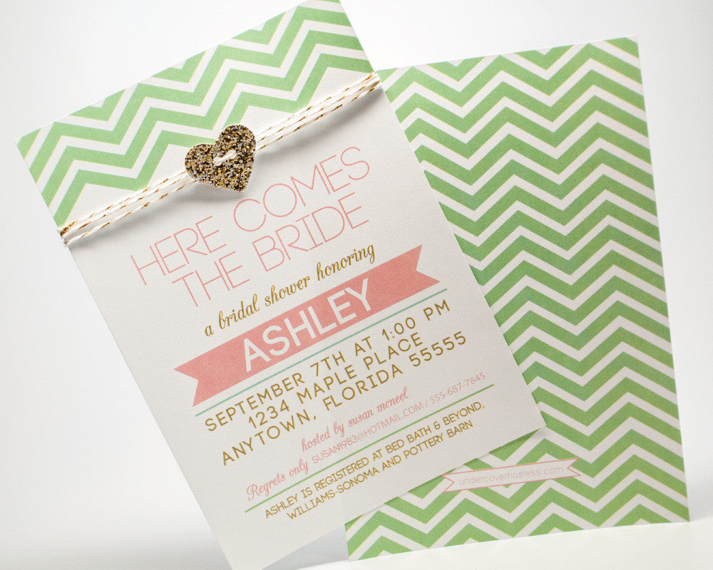 Mint to be Glam Bridal Shower Invitations - Undercover Hostess - 1