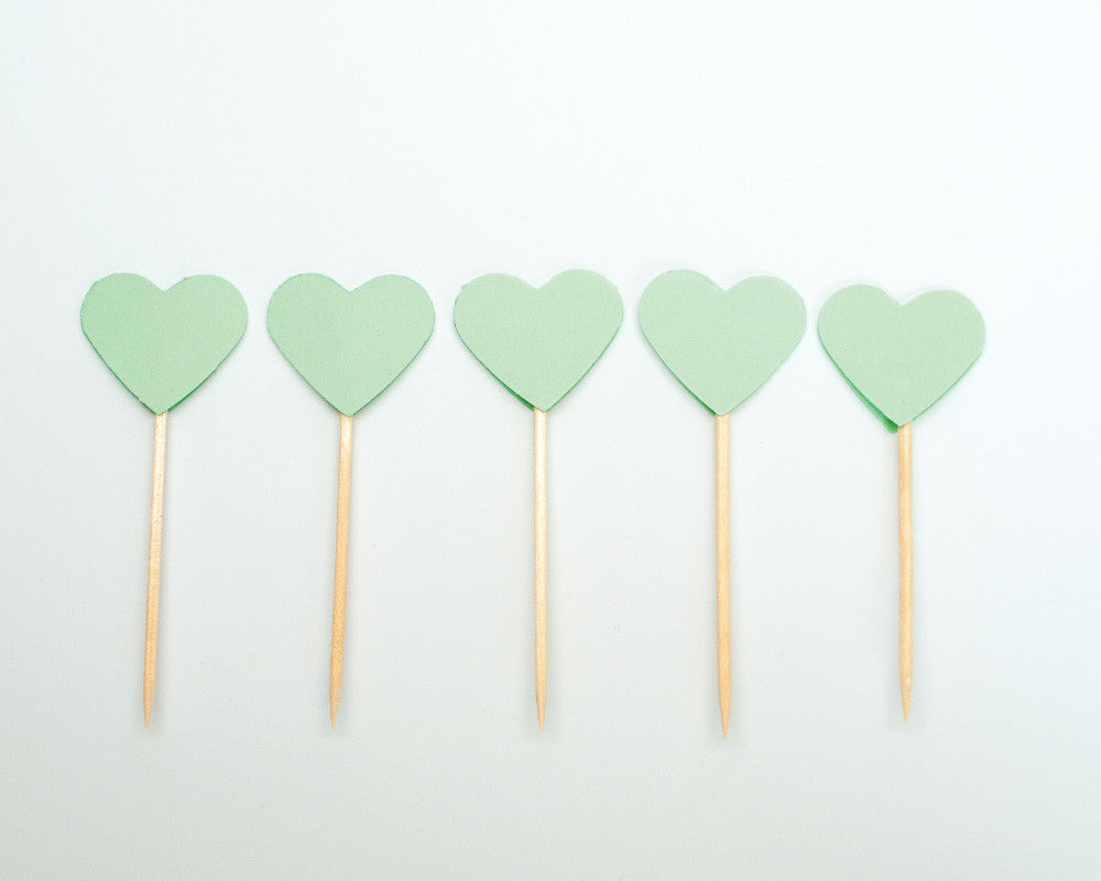 Mint Heart Cupcake Toppers - Undercover Hostess - 1