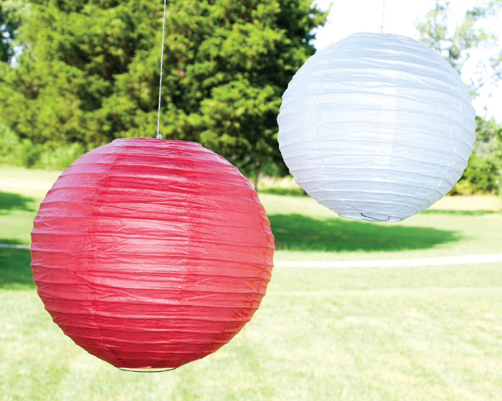 Coral & White Paper Ribbed Lanterns - Undercover Hostess