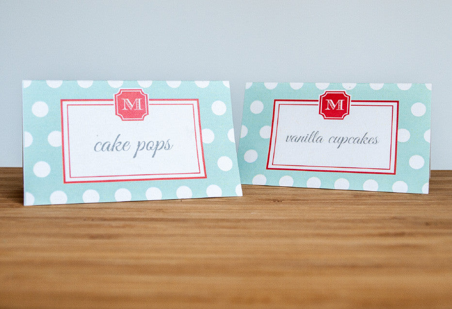 Coral + Teal Monogram Tent Cards - Undercover Hostess