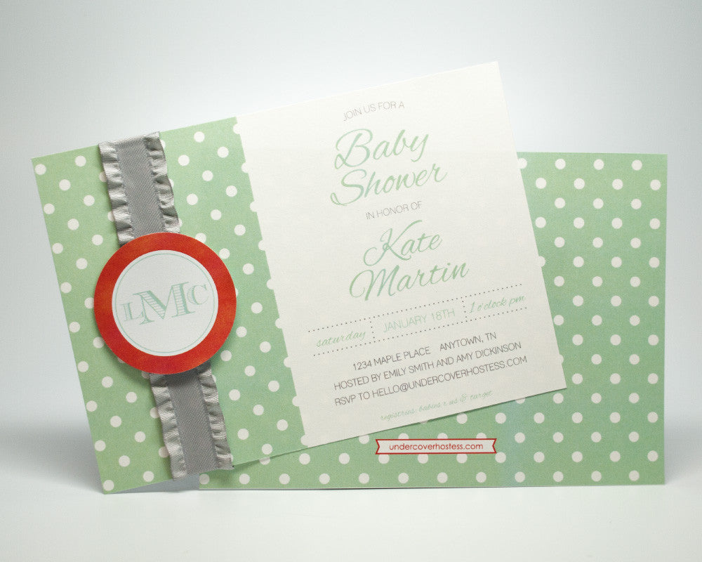 Monogram Baby Shower Invitations - Undercover Hostess - 1