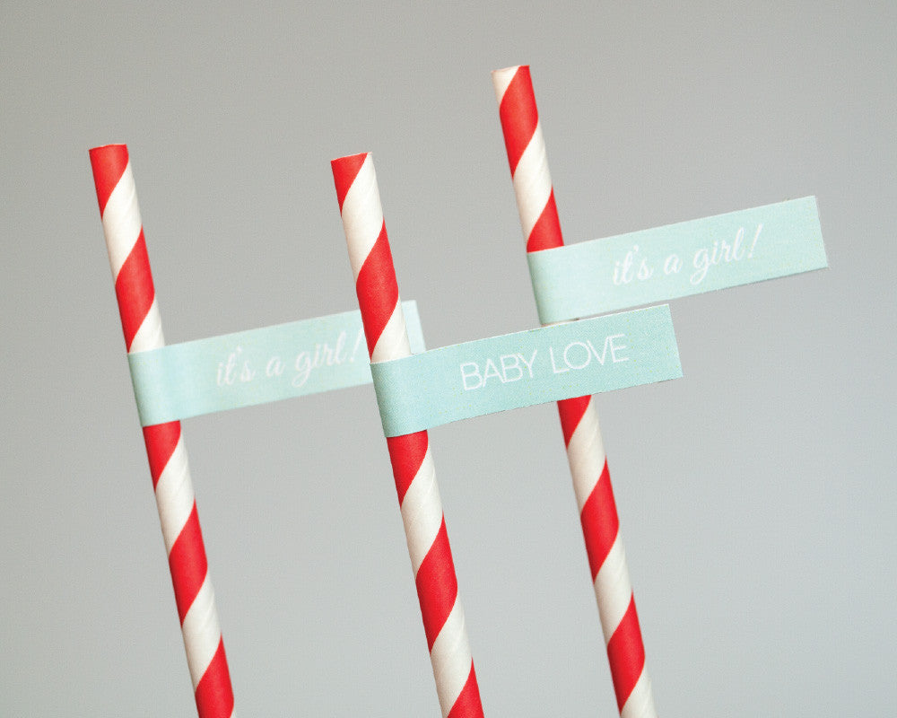 Coral + Teal Monogram Straw & Flag Set - Undercover Hostess
