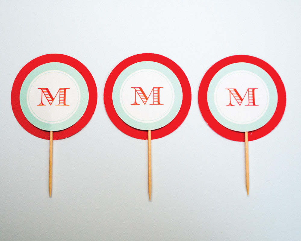 Coral + Teal Monogram Cupcake Toppers - Undercover Hostess