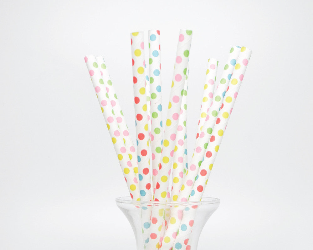 Multi Colored Polka Dots Straws - Undercover Hostess