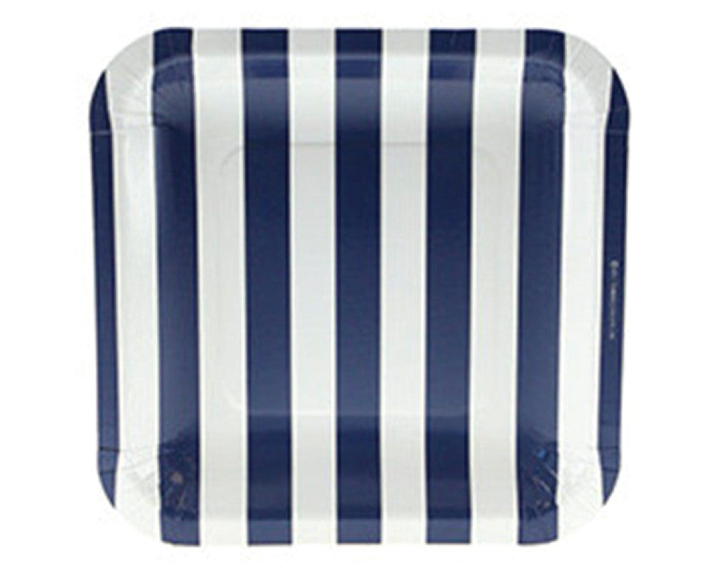 Navy Stripe Square Dessert Plates - Undercover Hostess