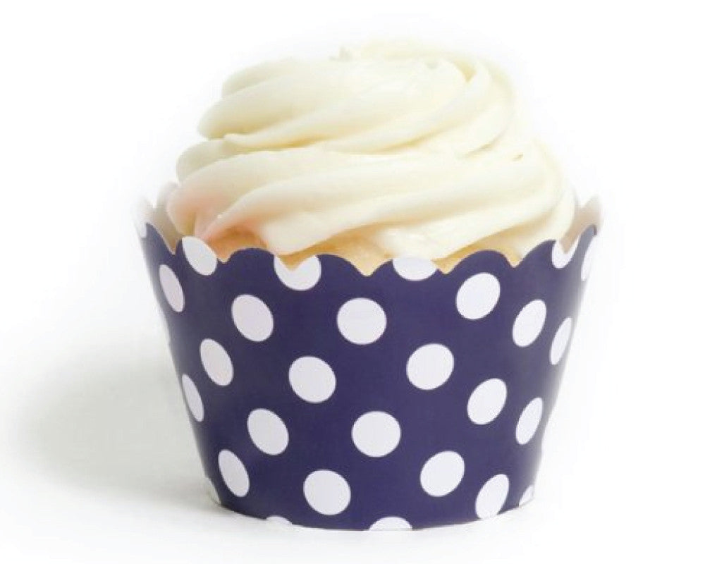 Navy Blue Polka Dot Cupcake Wrappers - Undercover Hostess
