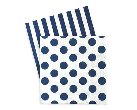 Navy Polka Dots & Stripes Napkins