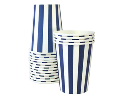 Navy Stripe Paper Cups