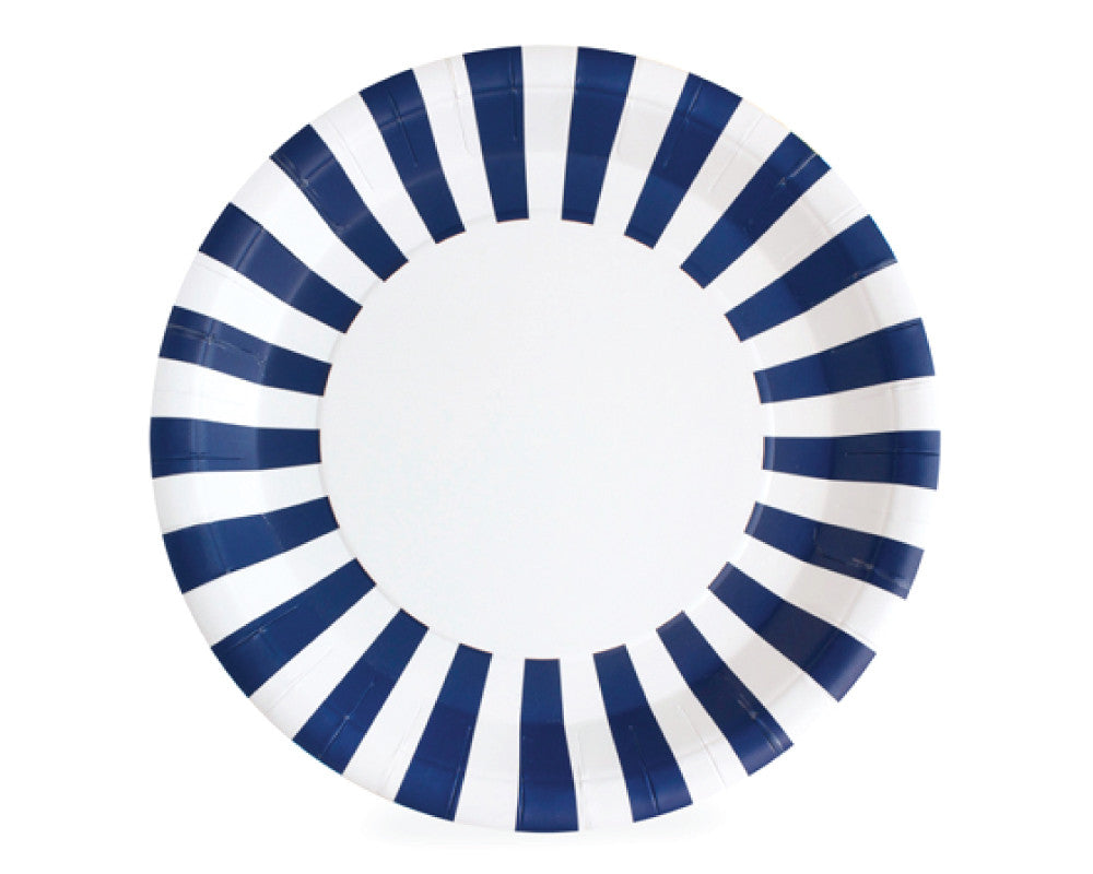 Navy Stripe Paper Plates - Undercover Hostess - 1
