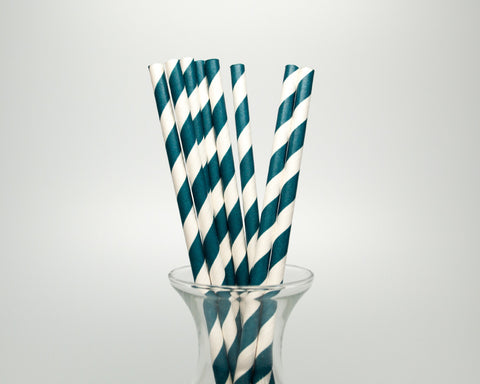 Navy Striped Straws