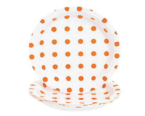 White with Orange Polka Dots Dessert Plates