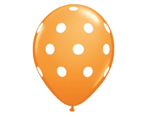 "Orange Polka Dot 11"" Balloons - Set of 6"
