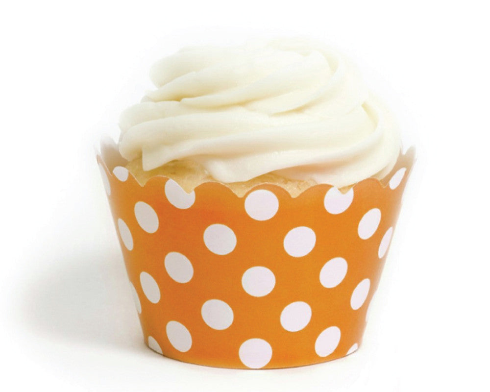 Orange Polka Dot Cupcake Wrappers - Undercover Hostess