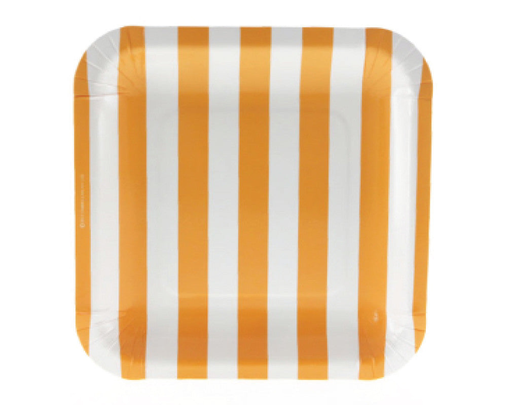 Orange Stripe Square Dessert Plates - Undercover Hostess - 1