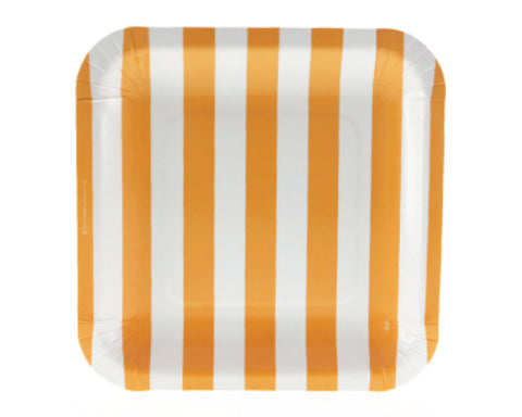 Orange Stripe Square Dessert Plates