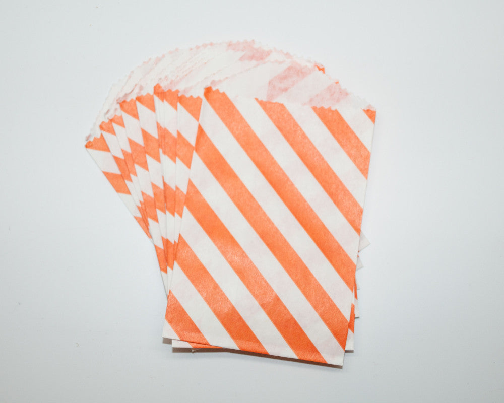 Small Orange Stripe Favor Bags - Undercover Hostess