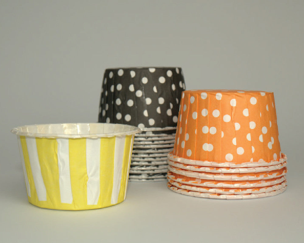 Orange Polka Dot, Black Polka Dot & Yellow Striped Candy Cups - Undercover Hostess