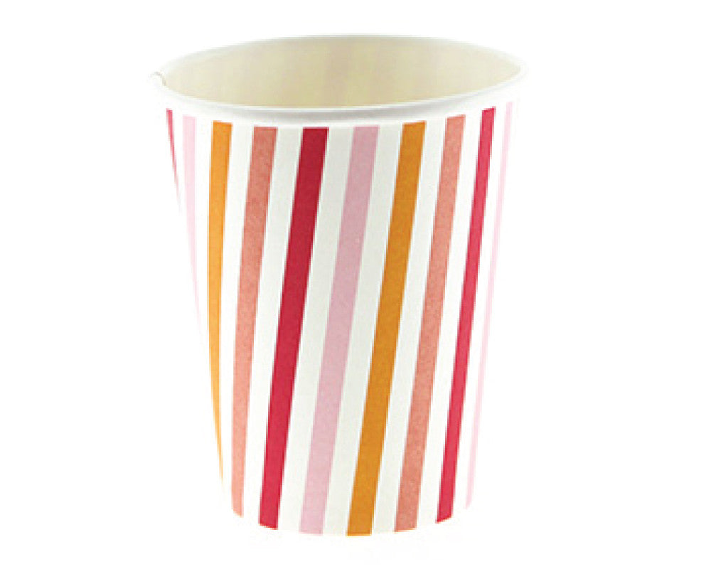 Peach Stripe Paper Cups - Undercover Hostess - 1
