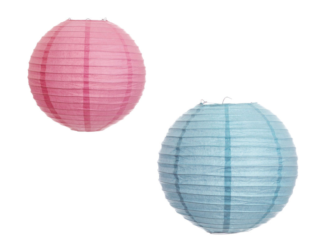 Pink & Blue Paper Ribbed Lanterns - Undercover Hostess