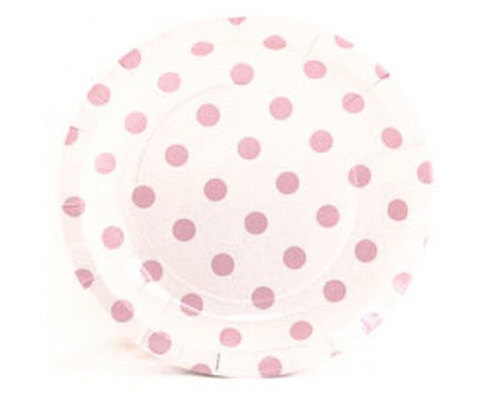 White with Pink Polka Dots Dessert Plates - Undercover Hostess