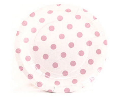 White with Pink Polka Dots Dessert Plates