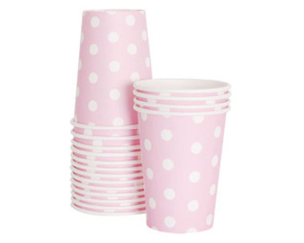 Pink Polka Dot Paper Cups - Undercover Hostess