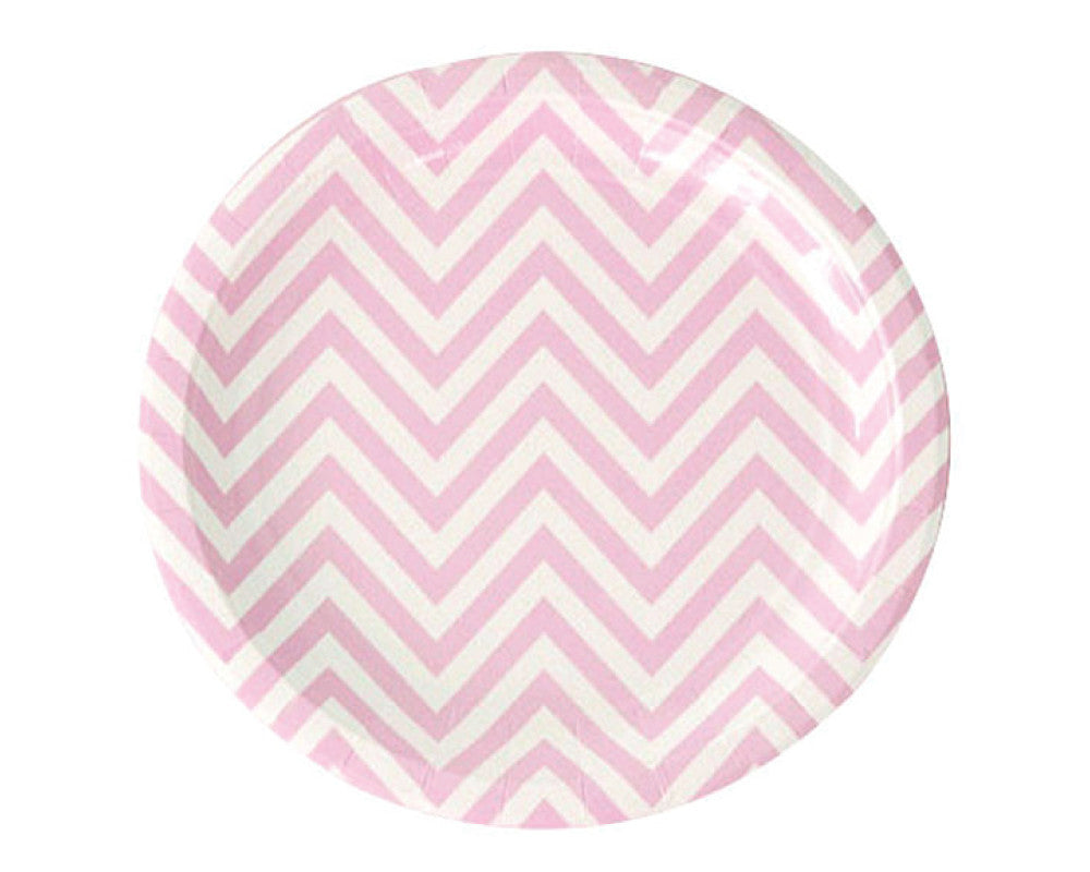 Pink Chevron Paper Plates - Undercover Hostess
