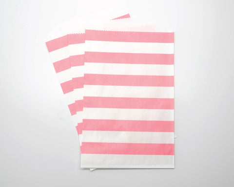 Medium Pink Horizontal Stripe Favor Bags