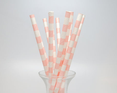 Pink Horizontal Striped Straws