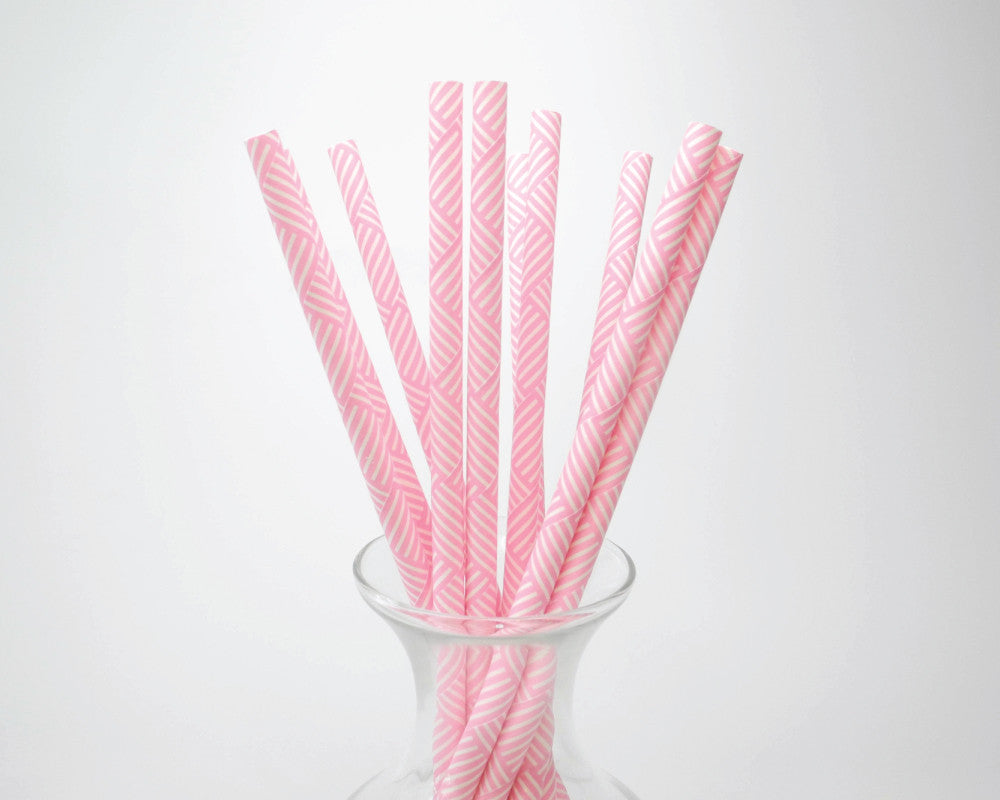 Bright Pink Basket Weave Straws - Undercover Hostess
