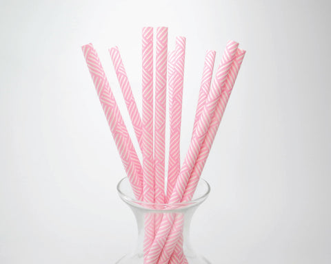 Bright Pink Basket Weave Straws