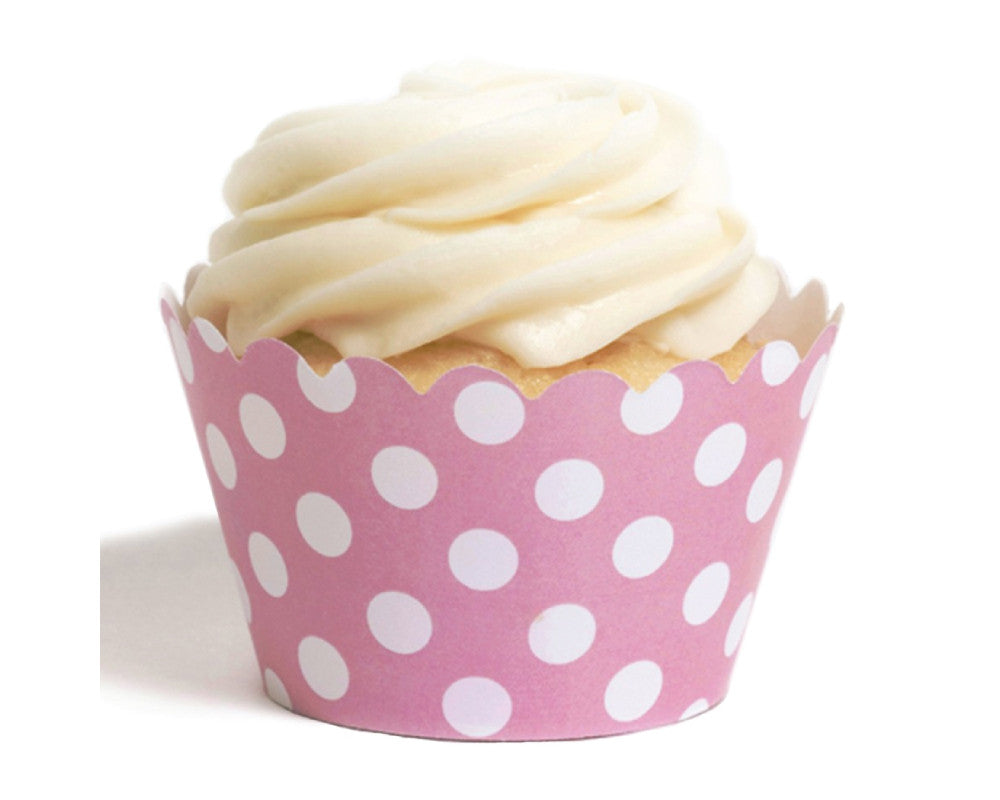 Pink Polka Dot Cupcake Wrappers - Undercover Hostess