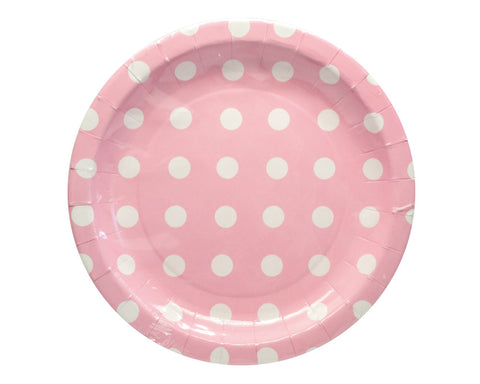 Pink With White Polka Dots Dessert Plates