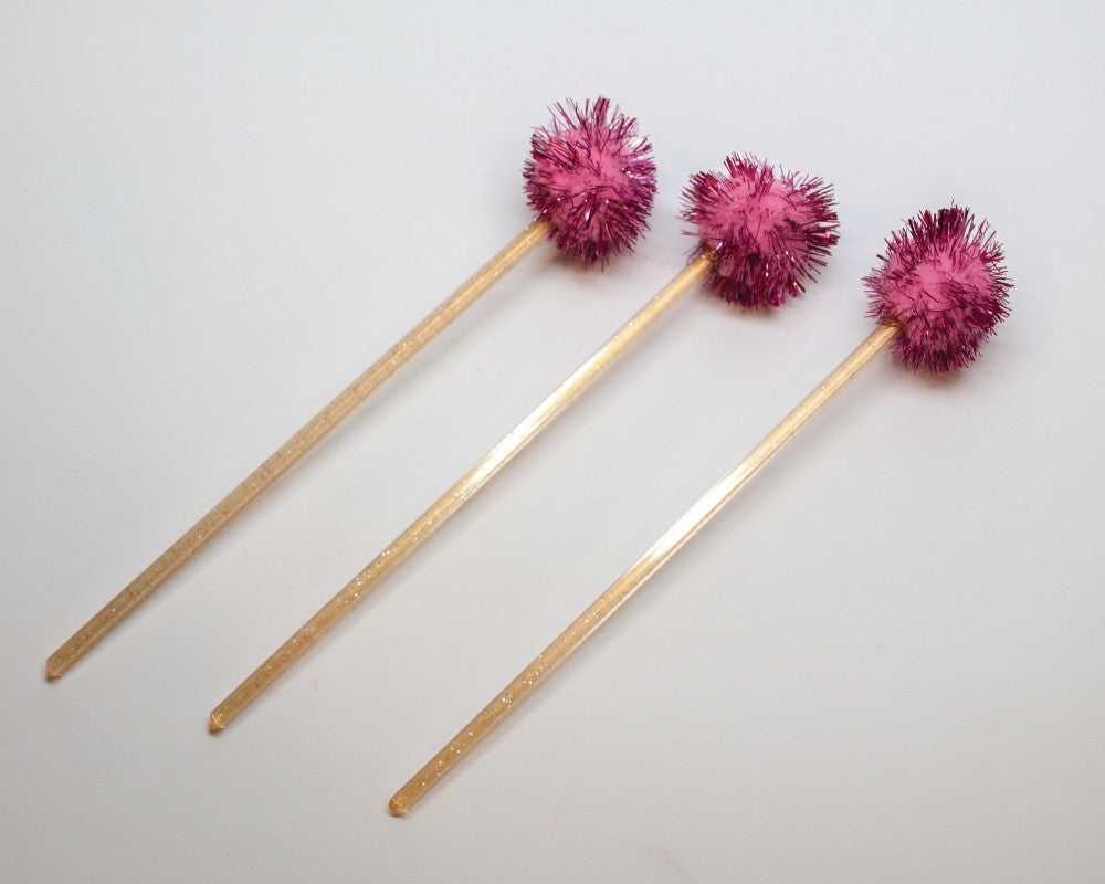 Pink Pom Drink Stirrers - Undercover Hostess