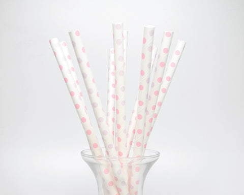 Pink and Purple Polka Dots Straws