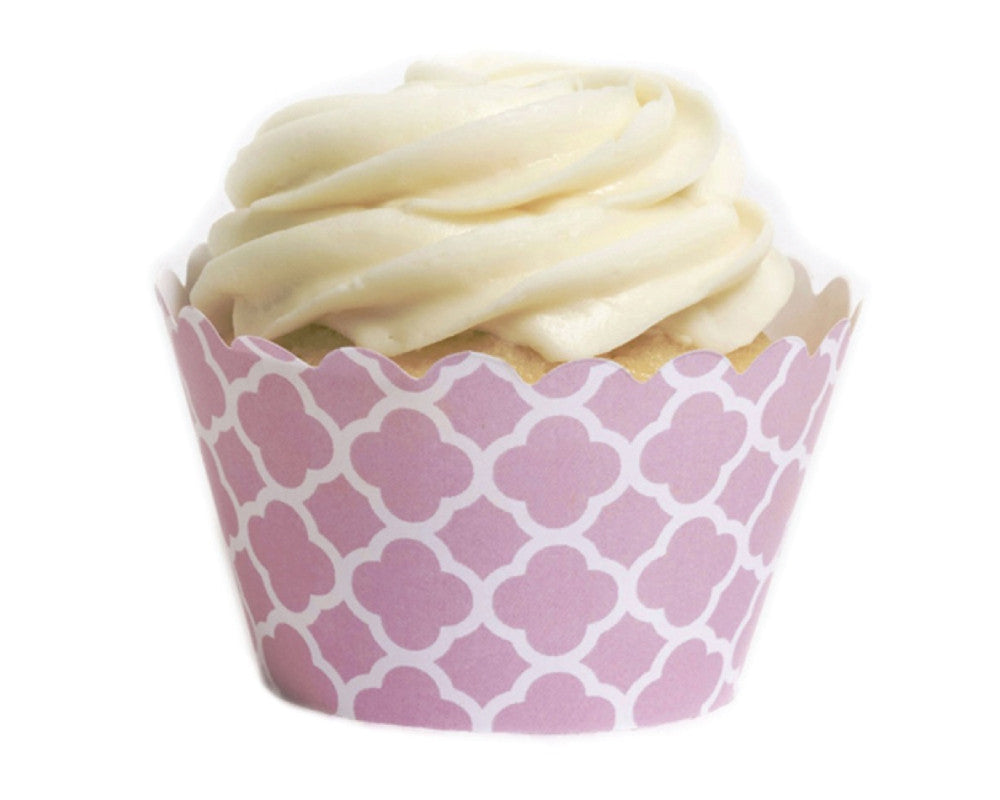 Pink Spanish Tile Cupcake Wrappers - Undercover Hostess